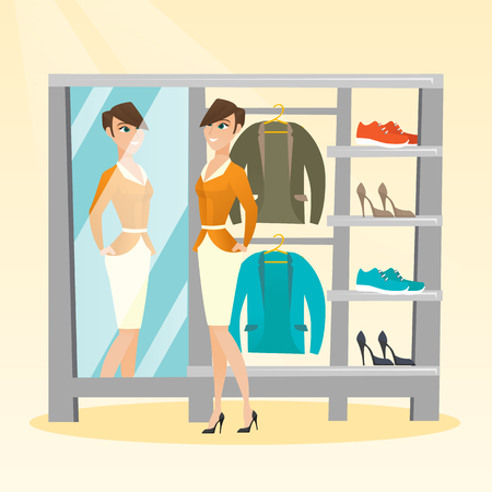 Young caucasian woman looking in the mirror in the dressing room. Woman trying on jacket in the dressing room. Woman choosing clothes in dressing room. Vector flat design illustration. Square layout.