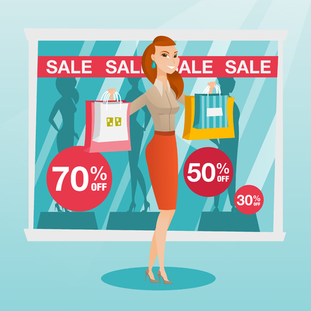 Jonge Kaukasische vrouw die het winkelen zakken voor winkelvenster tonen met verkoopteken. Vrouw die zich op de achtergrond van etalage met tekstverkoop bevindt. Vector platte ontwerp illustratie. Vierkante lay-out. Stock Illustratie