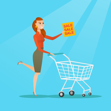 Caucasian woman running on big sale. Woman holding a paper sheet with sale text. Woman with shopping trolley running in a hurry to the store on sale. Vector flat design illustration. Square layout.