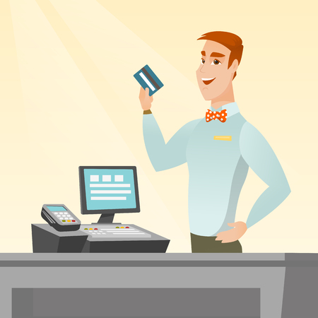 reader: Caucasian smiling cashier standing at the checkout and holding a credit card. Young cheerful cashier making payment by credit card. Vector flat design illustration. Square layout.