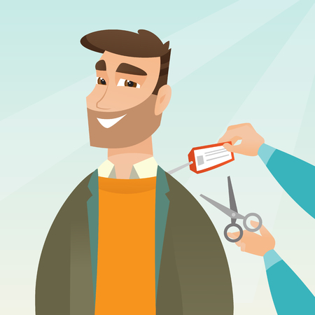 Young caucasian cheerful man cutting a price tag off new jacket with scissors. Cheerful hipster man with beard removing a label off new jacket. Vector flat design illustration. Square layout. Illustration