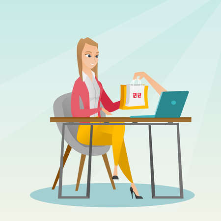 Young caucasian woman getting shopping bags from a laptop. Happy woman making an online order in a virtual shop. Woman using laptop for online shopping. Vector flat design illustration. Square layout. Illustration