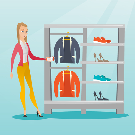 Young caucasian woman shocked by price tag in clothing store. Surprised woman looking at price tag in clothing store. Amazed woman staring at price tag. Vector flat design illustration. Square layout.