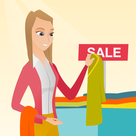 choosing clothes: Young caucasian woman buying clothes in the store on sale. Woman choosing clothes in the shop on sale. Woman shopping in the clothing shop on sale. Vector flat design illustration. Square layout.