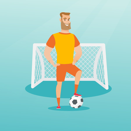 Young caucasian sportsman standing with a football ball on the background of football gate. Football player standing with a soccer ball on the field. Vector flat design illustration. Square layout.
