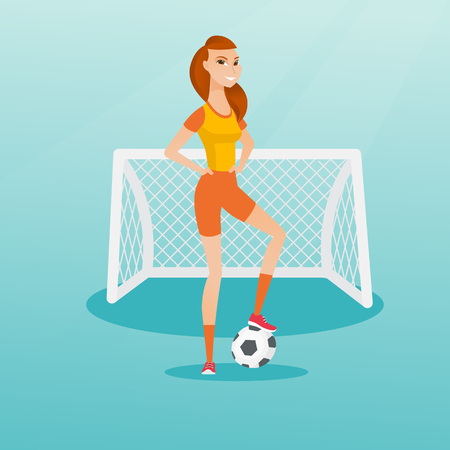 Young caucasian sportswoman standing with a football ball on the background of football gate. Football player standing with a soccer ball on the field. Vector flat design illustration. Square layout.