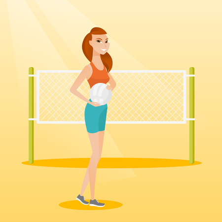 Caucasian beach volleyball player standing on the background of voleyball net. Young sportswoman holding a volleyball ball in hands. Vector flat design illustration. Square layout. Ilustração