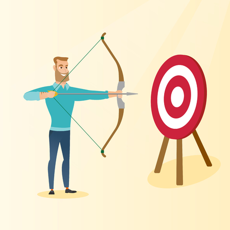 Young caucasian bowman aiming with a bow and arrow at the target. Concentrated hipster bowman with beard shooting an arrow during an archery competition. Vector flat design illustration. Square layout