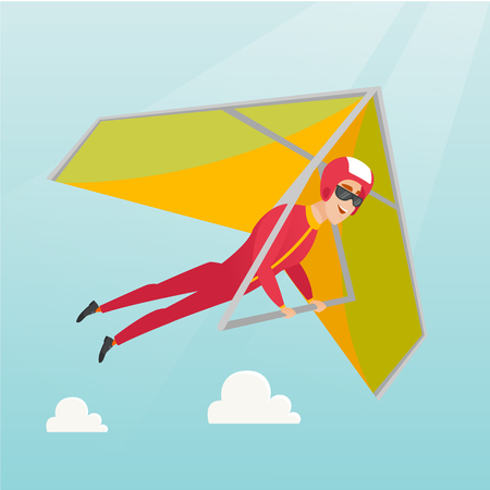 Young caucasian man flying on hang-glider. Sportsman taking part in hang gliding competitions. Man having fun while gliding on deltaplane in the sky. Vector flat design illustration. Square layout.