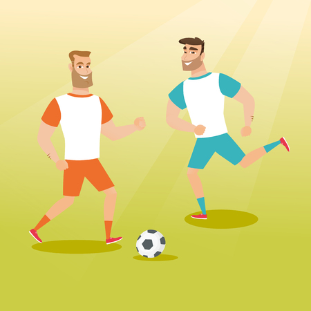 Two young sportsmen playing football. Two caucasian football players fighting over control of a ball during a football match. Sport and leisure concept. Vector flat design illustration. Square layout.