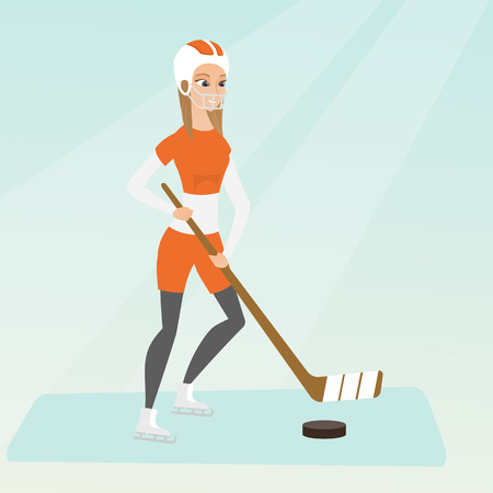 Young caucasian ice hockey player skating on the ice rink with a stick. Full length of smiling sportswoman in uniform playing ice hockey. Vector flat design illustration. Square layout.