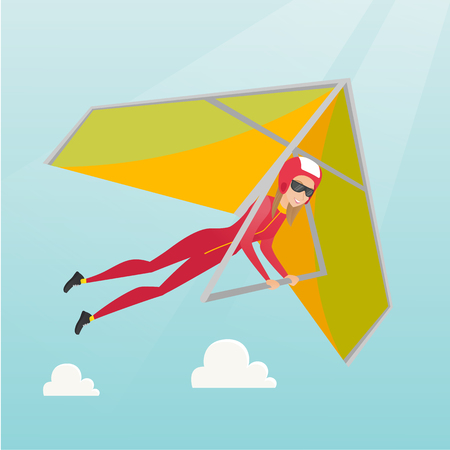 Young caucasian woman flying on hang-glider. Sportswoman taking part in hang gliding competitions. Woman having fun while gliding on deltaplane in sky. Vector flat design illustration. Square layout.