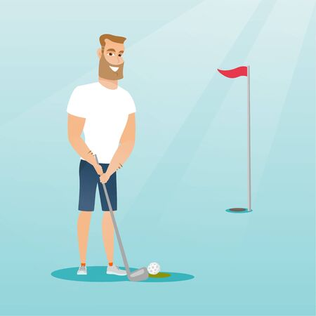 Young caucasian hipster golfer with beard directing a ball into a golf hole with a red flag. Professional golfer playing golf. Sport and leisure concept. Vector flat design illustration. Square layout Illustration