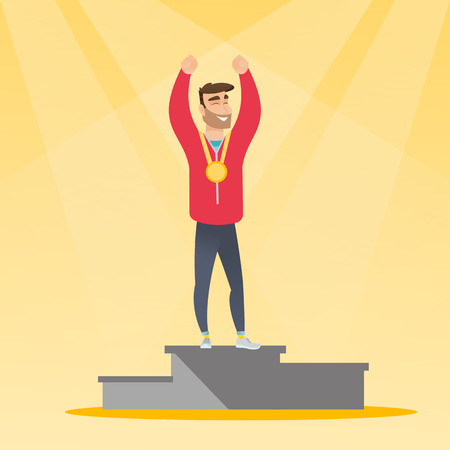 Young caucasian man standing with a gold medal and raised hands on the winners podium. Sportsman celebrating on the winners podium. Winner concept. Vector flat design illustration. Square layout.