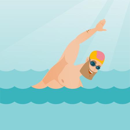 Jeune sportif caucasien dans un chapeau et des lunettes qui nagent dans la piscine. Un sportif hipster professionnel nageant l'avant. Concept de sport et loisirs. Vector illustration de conception plate. Mise en page carrée.