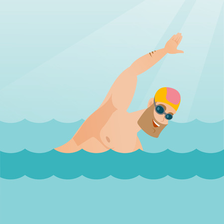 Young caucasian sportsman in a cap and glasses swimming in the pool. Professional hipster sportsman swimming the front crawl. Sport and leisure concept. Vector flat design illustration. Square layout.