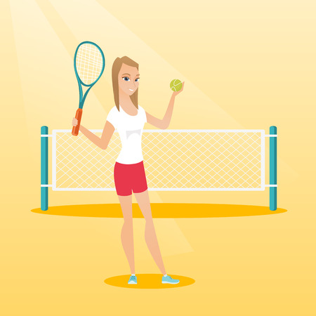 Smiling caucasian sportswoman standing on the background of tennis net. Young tennis player holding a racket and a ball. Cheerful woman playing tennis. Vector flat design illustration. Square layout.