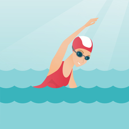 Junge kaukasische Sportlerin in einer Mütze und Brille schwimmen im Pool. Professionelle Sportlerin, die den Frontkriechen schwimmt. Sport- und Freizeitkonzept. Flache Designillustration des Vektors. Quadratisches Layout.