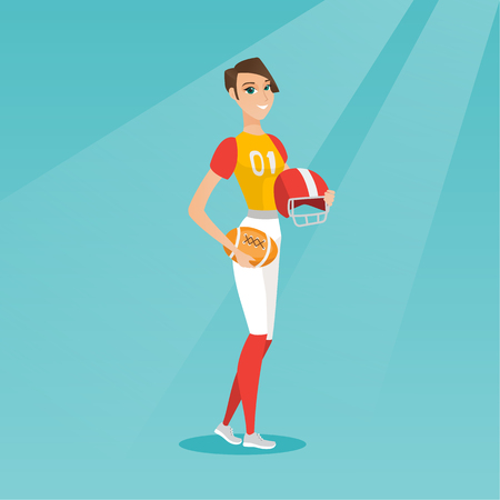 Young caucasian rugby player holding a ball and a helmet in hands. Full length of rugby player in uniform. Sport and leisure concept. Vector flat design illustration. Square layout.