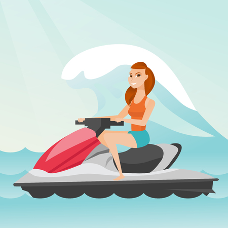Caucasian woman riding on a water scooter in the sea during summer vacation. Young woman sitting on a water scooter. Sport and leisure activity concept. Vector flat design illustration. Square layout.