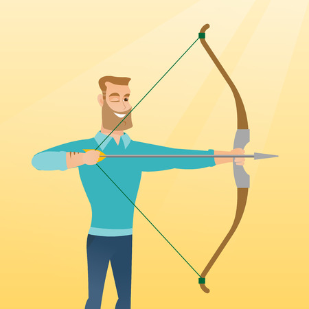 Young caucasian sportsman practicing in archery. Concentrated archery player aiming with a bow and an arrow. Sport and leisure concept. Vector flat design illustration. Square layout. Illustration