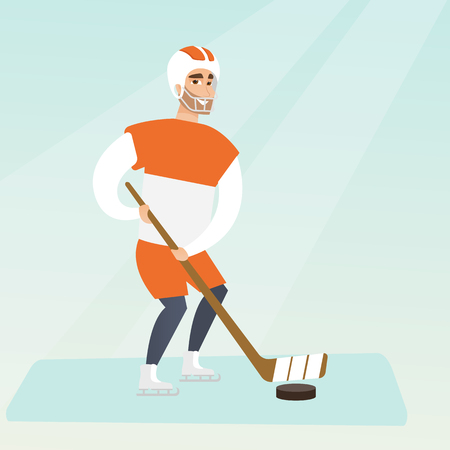 Young caucasian ice hockey player skating on the ice rink with a stick. Full length of smiling sportsman in uniform playing ice hockey. Vector flat design illustration. Square layout.