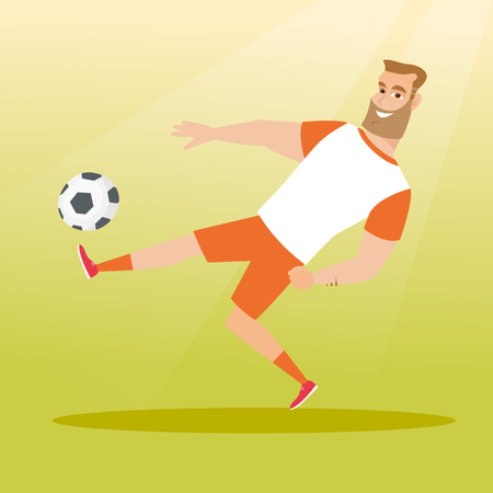 Young caucasian soccer player kicking a ball during game. Soccer player juggling with a ball. Sportsman playing soccer. Sport and leisure concept. Vector flat design illustration. Square layout.