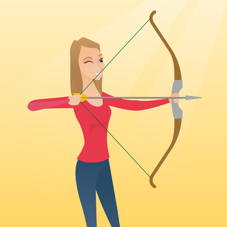 Young caucasian sportswoman practicing in archery. Concentrated archery player aiming with a bow and an arrow. Sport and leisure concept. Vector flat design illustration. Square layout.