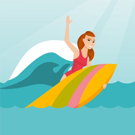 Young caucasian woman having fun during execution of a move on an ocean wave. Happy surfer in action on a surfboard. Lifestyle and water sport concept. Vector flat design illustration. Square layout.