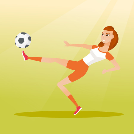 Young caucasian soccer player kicking a ball during game. Soccer player juggling with a ball. Sportswoman playing soccer. Sport and leisure concept. Vector flat design illustration. Square layout.