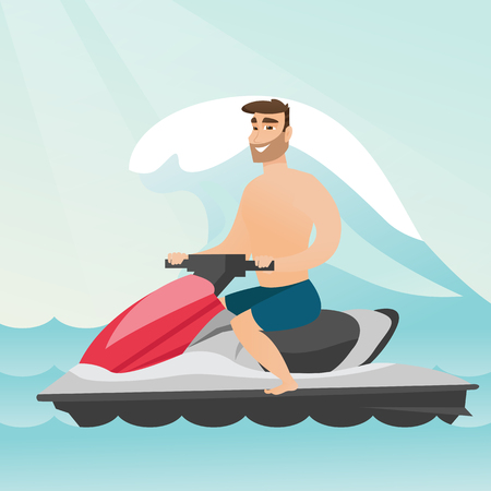 Caucasian man riding on a water scooter in the sea during summer vacation. Young man sitting on a water scooter. Sport and leisure activity concept. Vector flat design illustration. Square layout.
