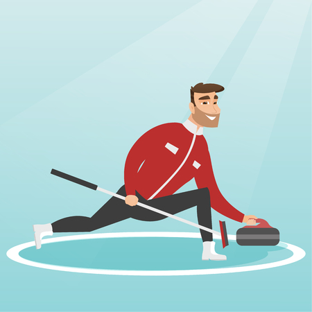 Sportsman playing curling on a skating rink. Caucasian curling player with a stone and a broom. Curling player sliding on the ice and delivering a stone. Vector flat design illustration. Square layout Ilustração