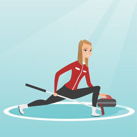 Sportswoman playing curling on a skating rink. Caucasian curling player with stone and broom. Curling player sliding on the ice and delivering a stone. Vector flat design illustration. Square layout.