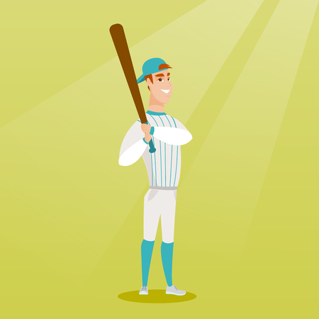 Full length of caucasian smiling baseball player in uniform. Professional baseball player holding a bat. Young cheerful sportsman playing baseball. Vector flat design illustration. Square layout. Ilustração