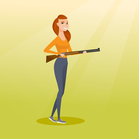 Young caucasian woman shooting skeet with a shotgun. Female hunter ready to hunt with a hunting rifle. Hunter holding a long rifle. Vector flat design illustration. Square layout. Ilustrace
