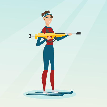 Young biathlon runner holding a weapon and aiming at the target. Caucasian sportswoman taking part in ski biathlon competition. Winter sport concept. Vector flat design illustration. Square layout.