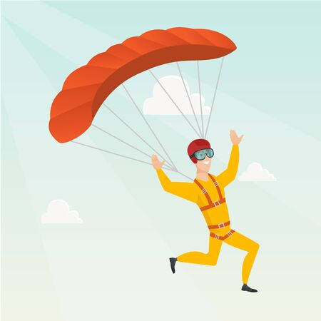 descending: Caucasian skydiver flying with a parachute. Young happy skydiver descending with a parachute in the sky. Sport and leisure activity concept. Vector flat design illustration. Square layout.