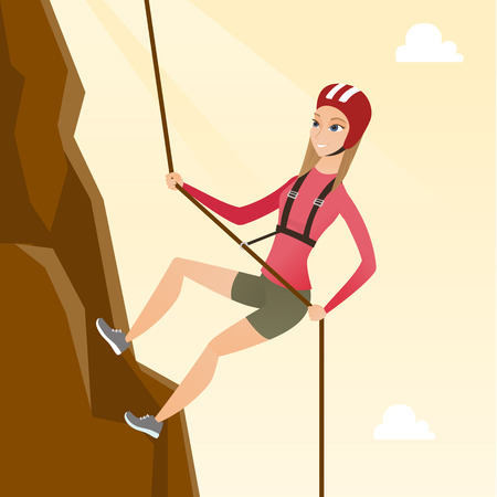 Young climber in protective helmet climbing a mountain. Caucasian smiling woman climbing a mountain with a rope. Sport and leisure activity concept. Vector flat design illustration. Square layout. Stock Illustratie