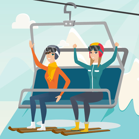 Caucasian skiers sitting on ski elevator with raised hands. Happy skiers using cableway at winter ski resort. Winter sport and leisure activity concept. Vector flat design illustration. Square layout. Illustration