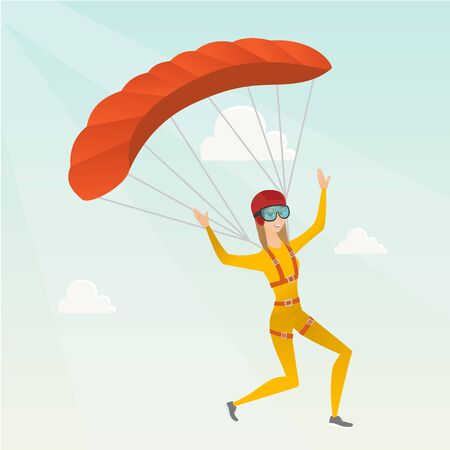 Caucasian skydiver flying with a parachute. Young happy skydiver descending with a parachute in the sky. Sport and leisure activity concept. Vector flat design illustration. Square layout.