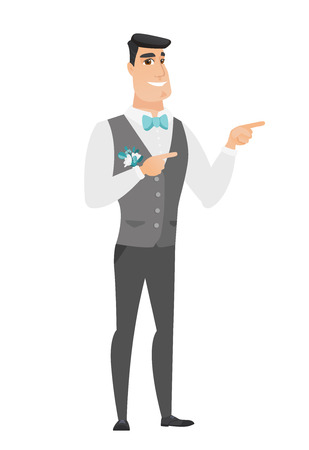 fiance: Young caucasian groom in a wedding suit pointing to the side. Groom pointing his finger to the side. Groom pointing to the right side. Vector flat design illustration isolated on white background.