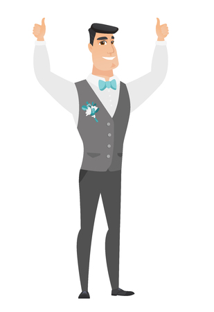 fiance: Young caucasian groom in a wedding suit giving thumb up. Full length of smiling groom with thumb up. Cheerful groom showing thumb up. Vector flat design illustration isolated on white background.