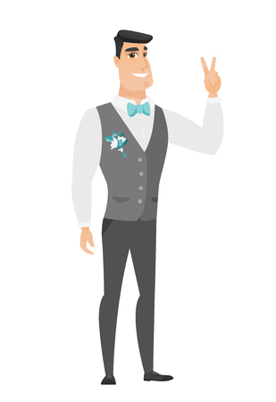 Caucasian groom in a wedding suit showing the victory gesture. Groom showing the victory sign with two fingers. Groom with victory gesture. Vector flat design illustration isolated on white background Illustration