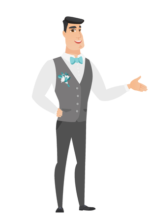 Groom with arm out in a welcoming gesture. Full length of welcoming young caucasian groom in a wedding suit. Groom doing a welcome gesture. Vector flat design illustration isolated on white background