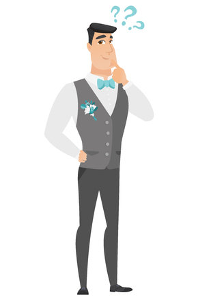 fiance: Thinking groom with question marks. Thoughtful groom with question marks. Young caucasian groom looking at question marks above his head. Vector flat design illustration isolated on white background. Illustration