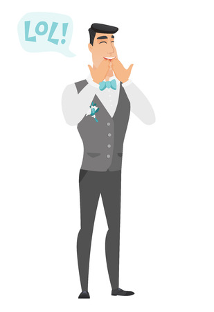 laugh out loud: Young caucasian groom laughing out loud. Happy groom and speech bubble with text - lol. Groom laughing out loud and covering his mouth. Vector flat design illustration isolated on white background.
