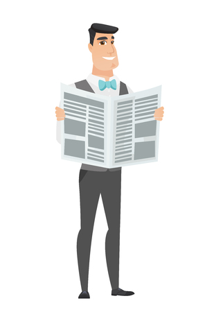 reader: Caucasian groom reading a newspaper. Happy groom standing with a newspaper in hands. Young groom reading good news in a newspaper. Vector flat design illustration isolated on white background. Illustration