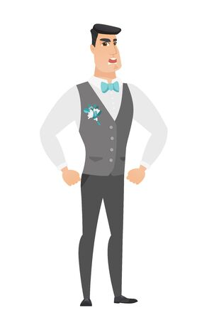 Caucasian furious groom screaming. Full length of young furious groom in a wedding suit shouting. Illustration of furious groom yelling. Vector flat design illustration isolated on white background.