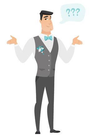 Confused groom with spread arms. Full length of confused groom with question marks. Confused groom in a wedding suit shrugging shoulders. Vector flat design illustration isolated on white background.
