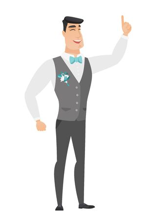 Excited groom in a wedding suit pointing with his finger. Full length of groom pointing his finger up. Groom with finger pointing up. Vector flat design illustration isolated on white background. Illustration